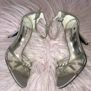 Jacqueline Ferrar Grey Ankle Strap Heels w/Jewels